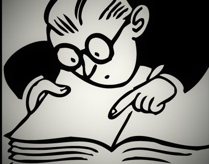 Lernen: Figur liest in Buch